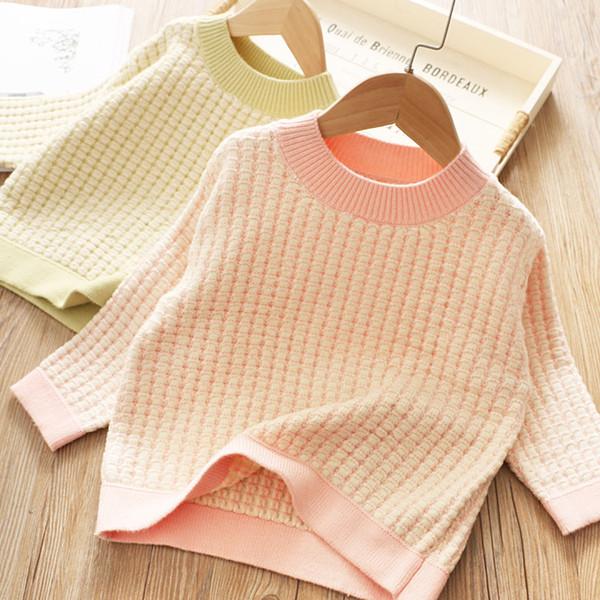 Maglione a maniche lunghe in maglia scozzese per ragazze carine Autunno 2019 Boutique per bambini Clohting 2-7T Pullover a maniche lunghe per bambine Top di alta qualità