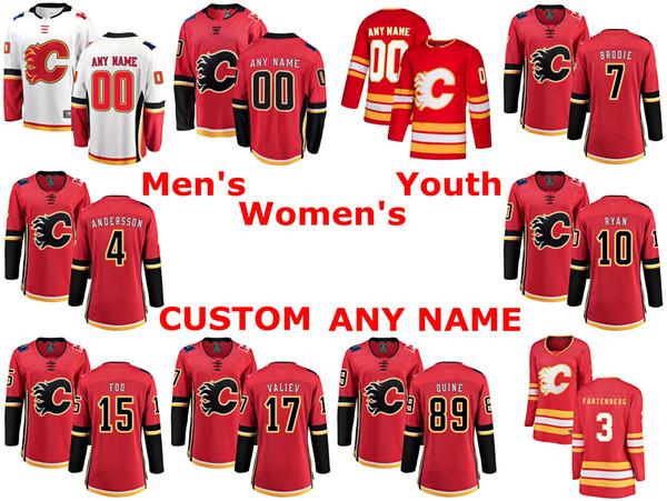 Calgary Flames Formalar Alan Quine Forması Derek Ryan Rasmus Andersson TJ Brodie Oscar Fantenberg Kırmızı Beyaz Buz Hokeyi Formalar Özel Dikişli