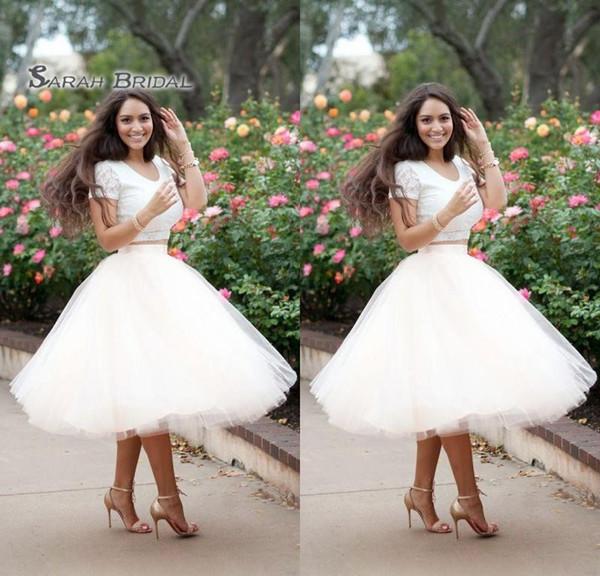 2020 Blanco Dos piezas Vestidos de baile Una línea Vestido de fiesta Fiesta Vestidos de graduación formales Cóctel Longitud del té Vestido africano