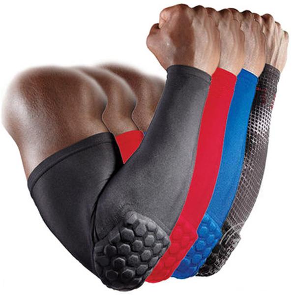 Sportunterhaltung 1 stück Armhülse Armband Ellenbogen Unterstützung Basketball Armhülse Atmungsaktive Fußball Sicherheit Sport Ellenbogenkissen Brace Protector