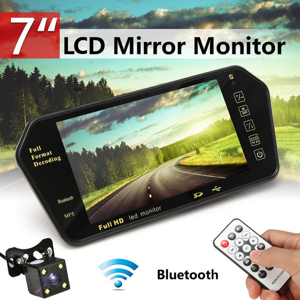 best selling Car 7 Inch Rear View LED Display bluetooth With LED Low Light Night Vision Rearview Mirror Monitor Night Vision Reversing Camera