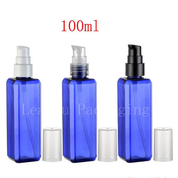 Großhandel 100 ml X 50 blau schöne Farbe Creme Pumpe Plastikbehälter Flaschen, Hautpflege Creme Spender quadratische Flasche