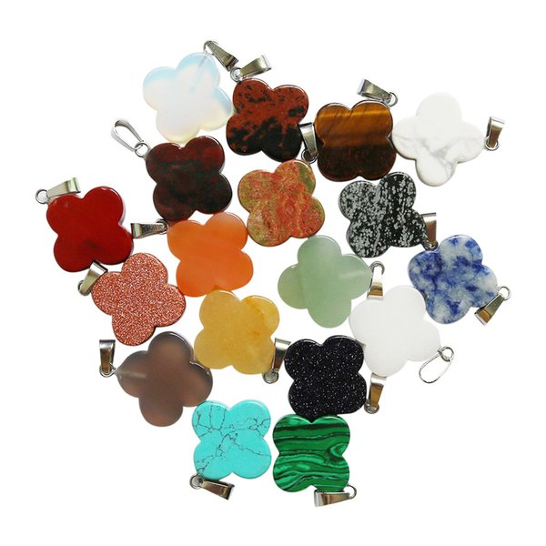 Wholesale charms Natural stone Four-Leaf Clover Beads Pendant DIY Jewelery Making for necklace Earring Pendants free shipping