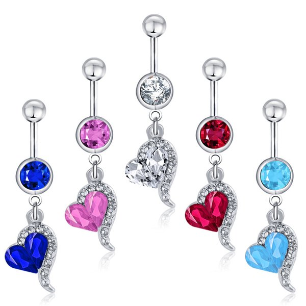 Cute Love Heart Pendant Crystal Body Jewelry Stainless Steel Rhinestone Navel & Bell Button Piercing Dangle Rings for Women Gift