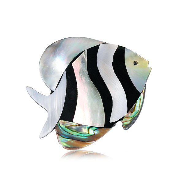 Euro-American Personal Apparel Accessories Baitao Fashion Tropical Fish Brooch Natural Abalone Shell Chest Flower
