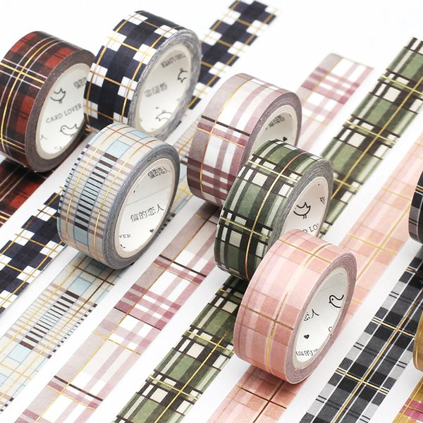1 Pc Foil Decorative Plaid Dots Kawaii Masking Washi Tape Set Scrapbook Adhesive Tapes Japanese Stationery Supplies 2016