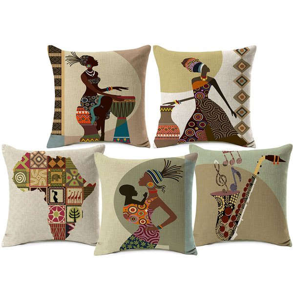 African Lady Sofa Cushion Covers Africa Symbols Modern Art Thick Cotton Linen Cushion Cover 45X45cm Sofa Chair Decoration