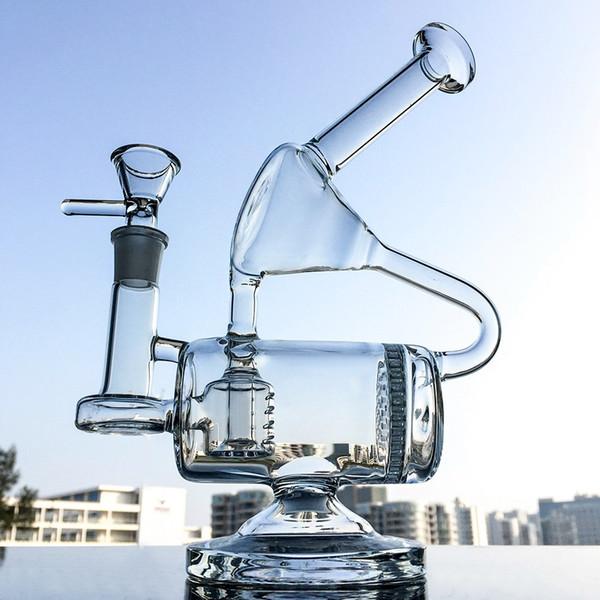Уникальные Bong Recycler Сотовые Встроенные Perc Glass Bong Dab Нефтяные Установки 14.5 мм Совместное Стеклянные Водопроводные Трубы С Чашкой WP143