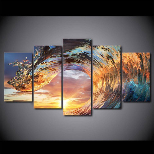 5Pcs Modern Painting Canvas Art HD sea Wave Landscape Wall Picture For Bed Room Unframed Gift Oil Picture Printed On Canvas