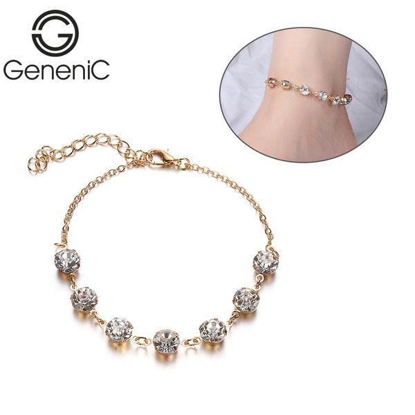 Kadınlar Link Zinciri Altın Gümüş Renk Ayakkabı Ayak Zincir Bileklik Yaz Plaj Takı için 1PC Moda Boho Kristal Rhinestone Halhallar
