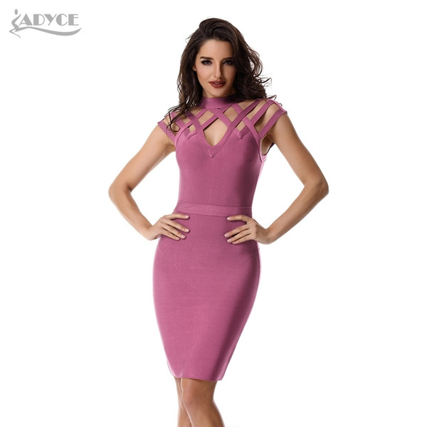 Adyce New Summer Women Bandage Sexy Hollow Out Wine Red Pink Black Club Vestidos Celebrity Evening Party Dress Q190506