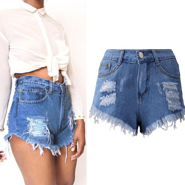 Jaycosin Sexy Summer Women Denim Shorts 2018 New High Waist Ripped Short Jeans Femme Tassel Bandage Hot Beach C19041102