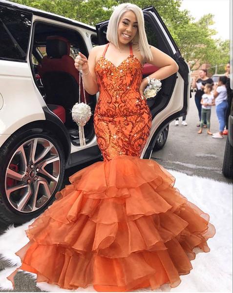 Apliques de encaje tamaño sirena más tamaño naranja Apliques de encaje con cristales moldeados con gradas Vestidos para ocasiones especiales de noche formal P0015