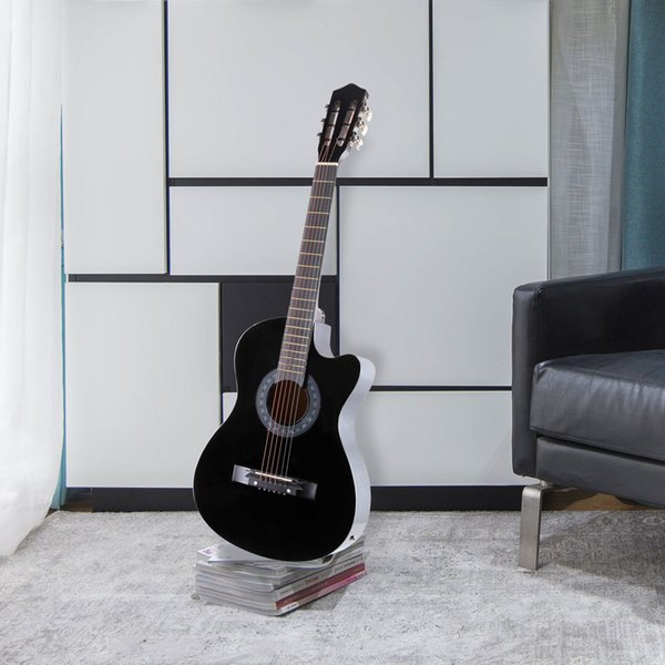 """best selling 38"""" Electric Acoustic Guitar Cutaway Design With Guitar Case,Strap,Tuner Black"""