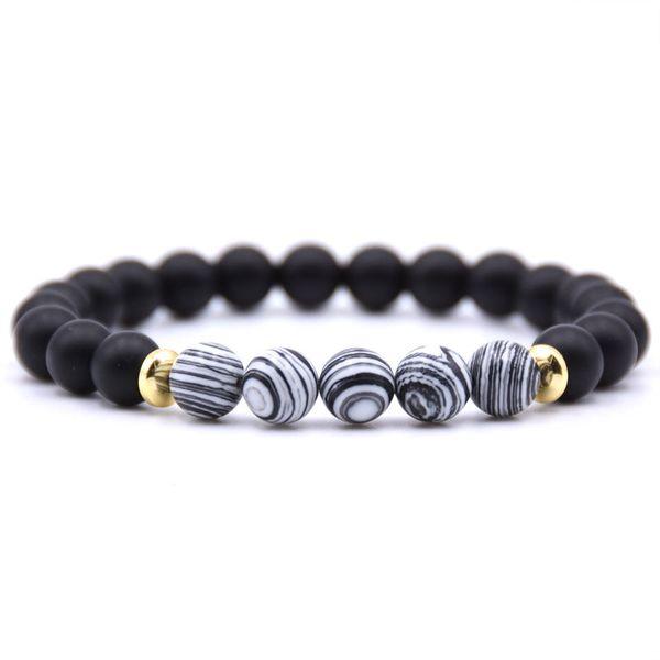 Nuevo diseño Top venta hechos a mano colorido 8 MM cuentas naturales negro lava piedra blanca ágata pulsera para la venta