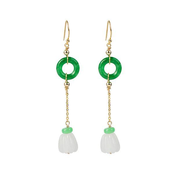 New Vintage etnico 925 Sterling Silver White Jade Pumpkin ciondola gli orecchini Classic Handmade Green Stone Circle catena lunga orecchino di goccia per Wo