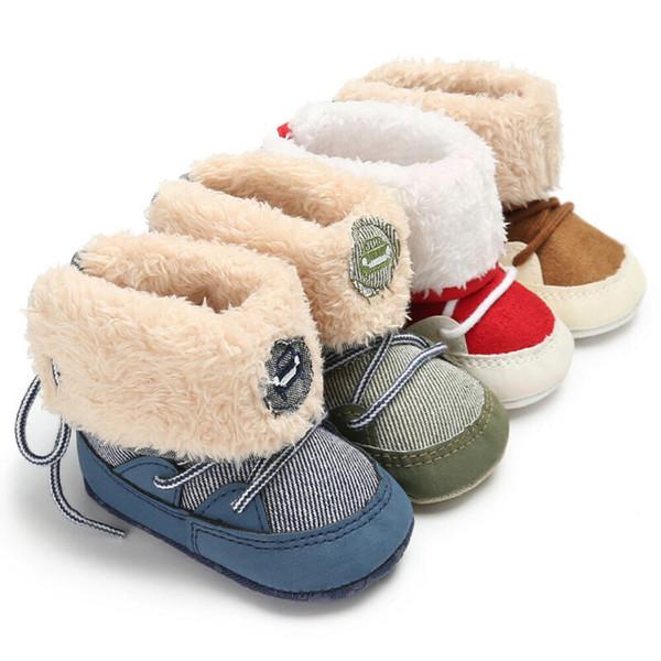 Bambino appena nato caldo di inverno Snow Boots Infant ragazza del ragazzo pattini della greppia Prewalker 0-18M