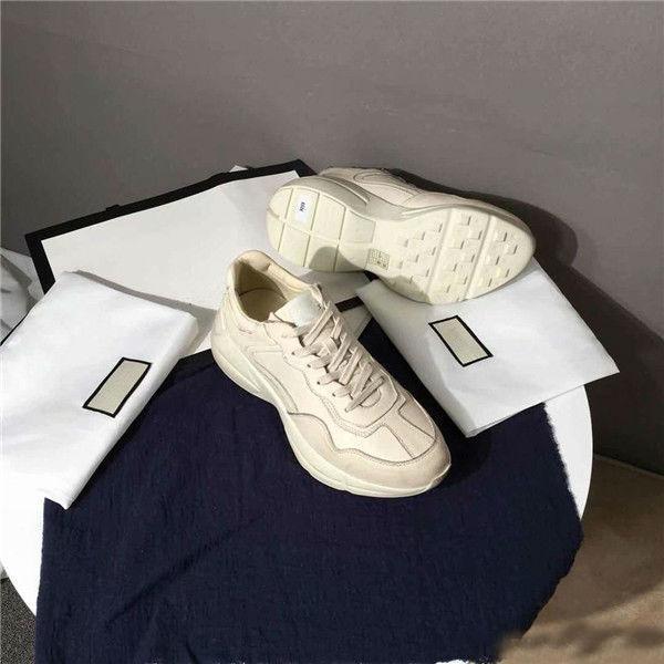 Atacado Rhyton sapatilha de couro dos homens sapatos de grife com Morango onda boca Tiger Web print Vintage Trainer mulheres Sapato De Grife