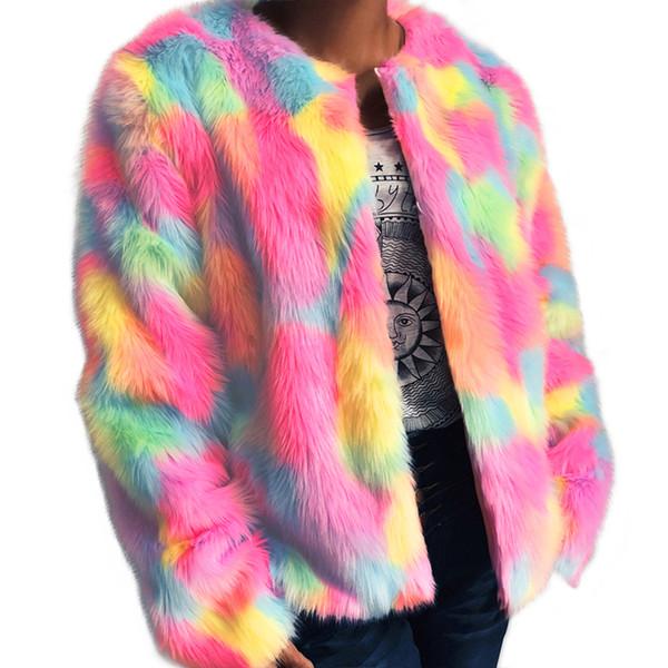 a7ddaf265 2018 Women Faux Fur Jacket Rainbow Color Block Long Sleeve Fourrure Femme  Fluffy Hairy Warm Slim