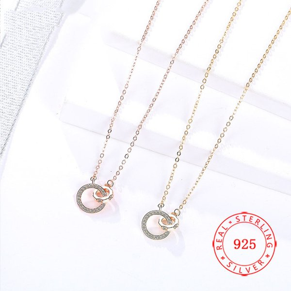 China genuine 925 sterling silver two rings double circle pendant necklace high quality rose gold plating cz jewelry free shipping wholesale