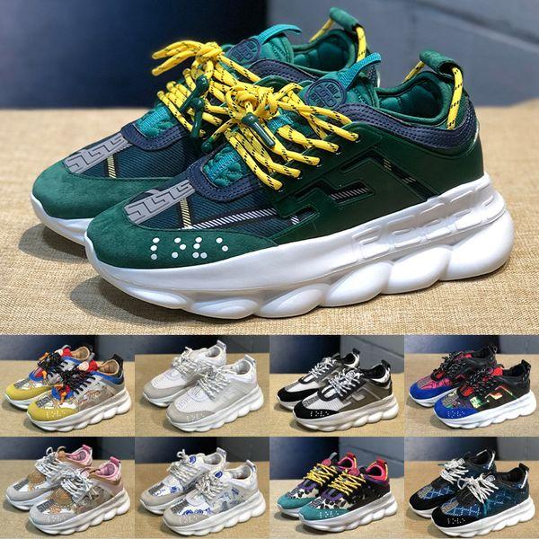 2019 Reacción en Cadena Hombres Mujeres Moda Zapatos de Diseñador de Lujo Estampado de leopardo Verde Blanco Zapatillas de deporte de ante Zapatillas de deporte Zapatos informales 5-11
