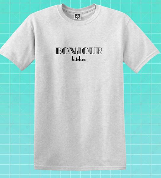 Bonjour Bitches T-shirt Paris Matin Drôle Slogan Tee Blog Indépendant Eiffel Top 2019 Eté Nouvelle Marque De Mode T-shirt Couleur Unie