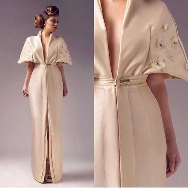 2020 pano novo flor de cetim cristal v-neck garfo aberto no vestido de noite antes de vestido sereia com mangas curtas Vestido De Festa 47