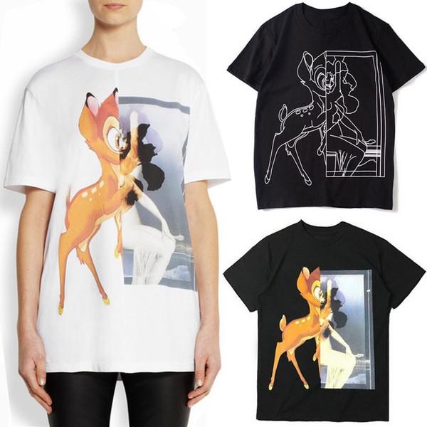 Kız Tasarım Moda Sokak Tshirt Kadın Baskılı Geyik Kısa Kollu Ekip Boyun Pamuk T Gömlek Bayanlar