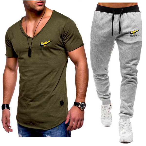 free shipping Summer Hot Sale Men's Sets V-neck T Shirts+pants Two Pieces Sets Casual Tracksuit Male Tshirt Gyms Fitness trouser