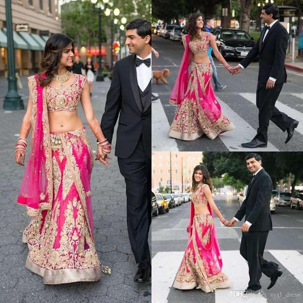 fuchsia indien modeste, plus la taille deux pièces dentelle robes de mariée sirène avec tulle train détachable robes de mariée longueur de plancher