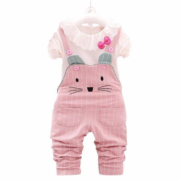 New Selling Toddler Tracksuit Spring Autumn 2019 Fashion Baby Girl Cotton T-Shirt Striped Cat Belt Pants 2 Pcs Children's Set