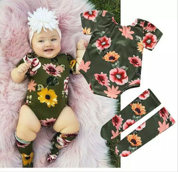 Pagliaccetto neonato Pagliaccetto neonato stampato a girocollo Maniche corte Pagliaccetto neonato Pagliaccetto neonato 3-24M stampato con calze stampate