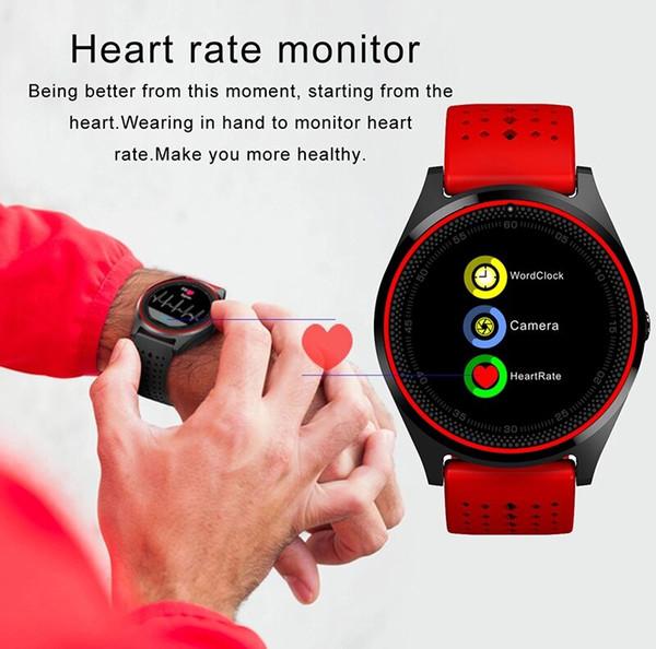 V9 Bluetooth Smart Watch Smartwatch Intégré dans la fente pour carte SIM Sync appel Watch Watch GPS Smart Watches peut enregistrer l'état de veille pour Android avec le paquet