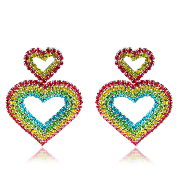 best selling Colorful Zirconium Double Heart Stud Earrings Women Fashion Exaggerated Full Love Diamond Luxury Designer Earrings Jewelry