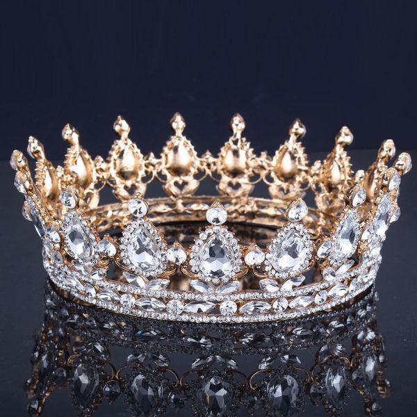 Luxo Do Vintage Do Casamento Do Ouro Da Coroa Da Liga De Noiva Tiara Barroco Da Rainha Do Rei Coroa de Ouro Cor Rhinestone Tiara Coroa D19011005
