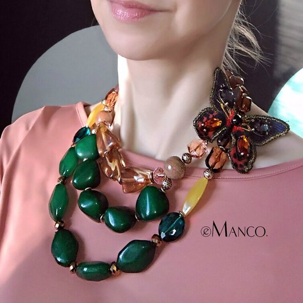 Emanco Ethnic Retro Style Trending Multi Layers Necklace For Women Green Resin Butterfly Fashion Jewelry Detachable Accessories J190530