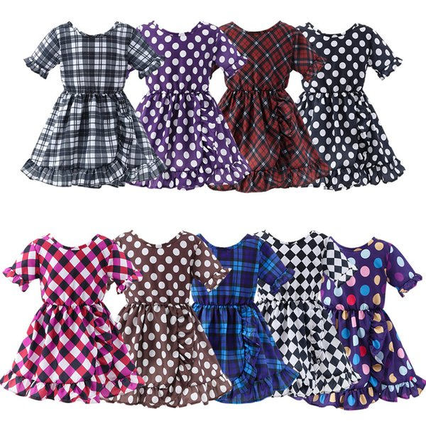 Toddler baby girl clothes Girl Dress Scottish plaid Dress Dot Print Mini Frock Summer Clothing For Girls Ruffles Cotton Daily Casual Outfits