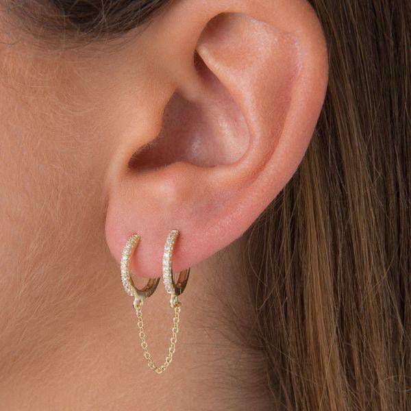 top popular Earrings Hoop Earrings 2 hole double piercing mini small Huggie hoop with tassel chain earring women fashion Shiny cz white blue green 2021