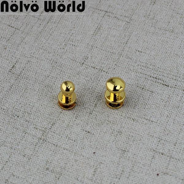50pcs 4 colors Copper Stud Screw Round Head Nail Leather Screw Rivet Chicago Base for DIY Bags Decoration Metal Part