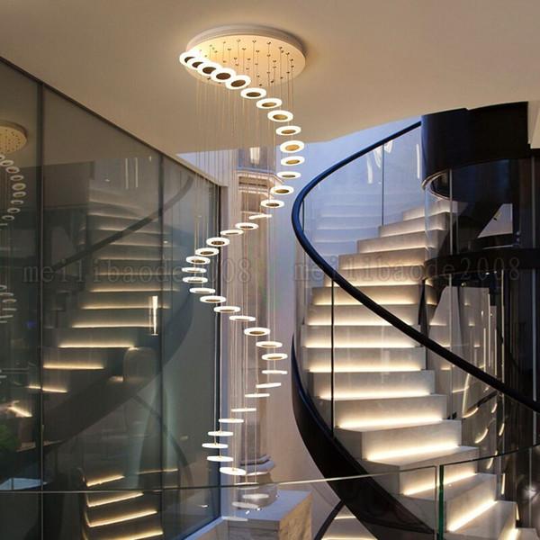 Lâmpadas de Pingente Simples moderno Luzes Nordic Sala de estar Iluminação Longa Pendurado Lustres Para Duplex Salão de Edifícios Villa Rotating Escadaria