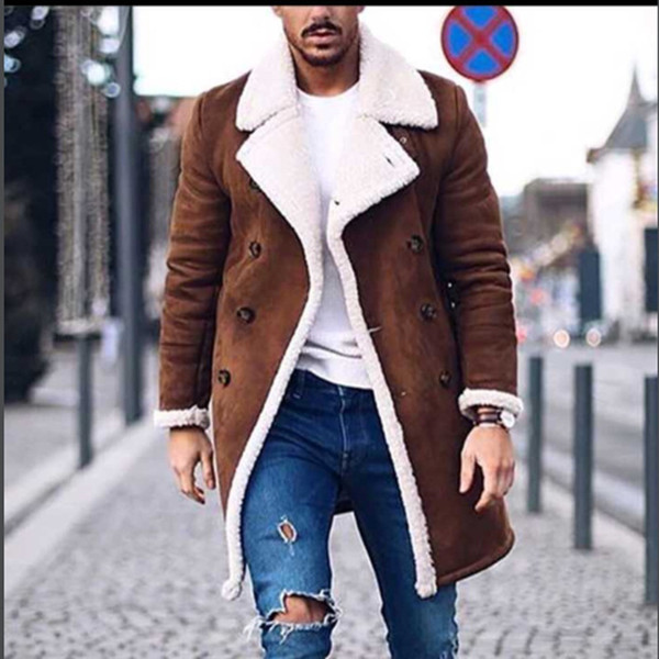 2018 Nouveau manteau d'hiver en laine Hommes Loisirs longues Sections Woollen Manteaux Pure Color hommes Vestes de mode Casual Casual Hommes Pardessus