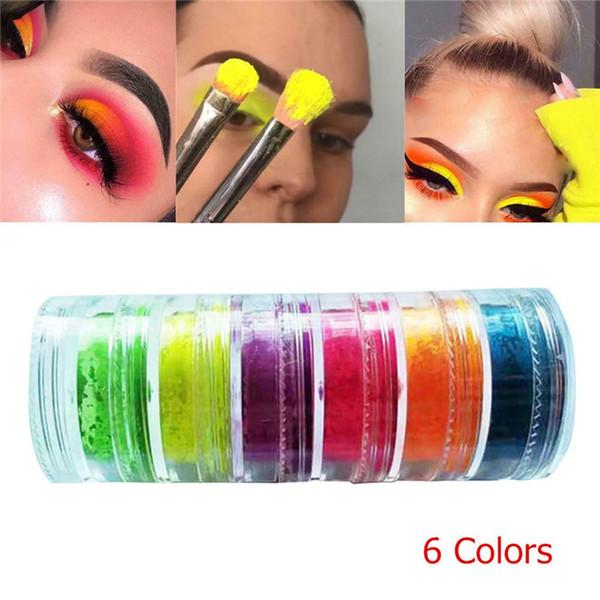 Lose Neon Lidschatten-Puder 6 Farben in 1 Satz Lasting Shimmer Lidschatten Pigment Matte Lidschatten Neon-Puder-Nagel-Puder