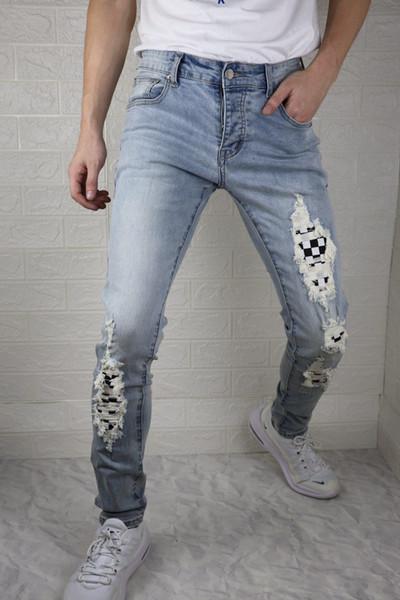 Stil Erkek Jeans Bieber Erkekler Pantolon Kot Moda Tasarımcısı Mavi Kaya Erkek Tulum Tasarımcı Denim Erkek Pantolon ABD Boyutu Ripped