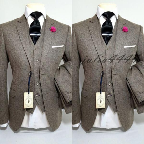 Ternos De Casamento Castanho claro Slim Fit Noivo Smoking Para Homens 3 Peças Groomsmen Terno Formal Jaqueta De Negócios Custom Made (Jacket + Pants + Vest)