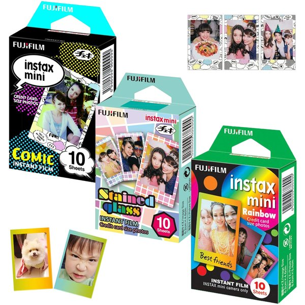 Fujifilm Instax Mini Cartoon Film Rainbow + Comic + Stained Glass Films 30 pcs for Fuji Instant Mini 8 Plus 90 25 70 Camera SP-1