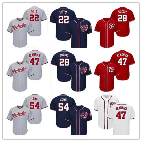 Özel Womens Gençlik Washington 47 Howie Kendrick 54 Kevin Long 28 Kurt Suzuki 22 Juan Soto 2019 Beyzbol Jersey Nationals