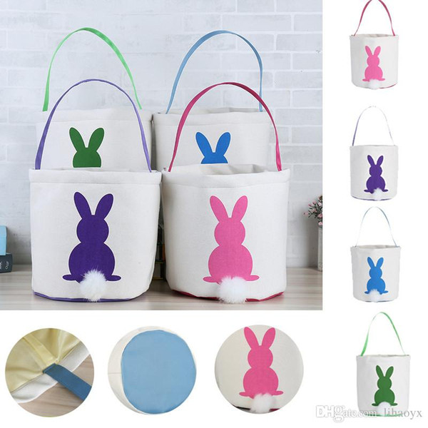 Easter Rabbit Basket Easter Bunny Bags Rabbit Printed Canvas Tote Bag Egg Candies Baskets 4 Colors