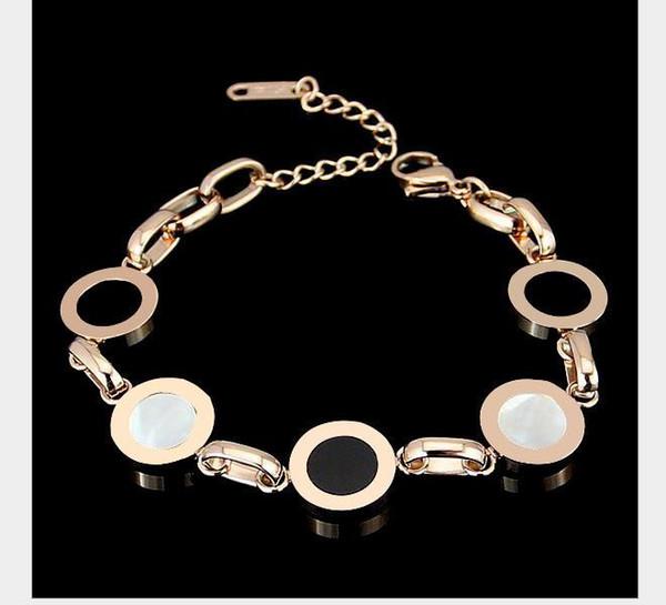 round brand black and white shell bracelet 18k gold digital bracelet for women