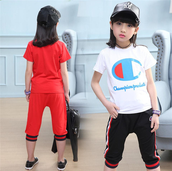 Champion Kids Tracksuit Brand Letter Short Sleeve T shirt + Shorts 2 Pieces Set Designer Kids Short Sets Summer Girls Boys Clothes A52703