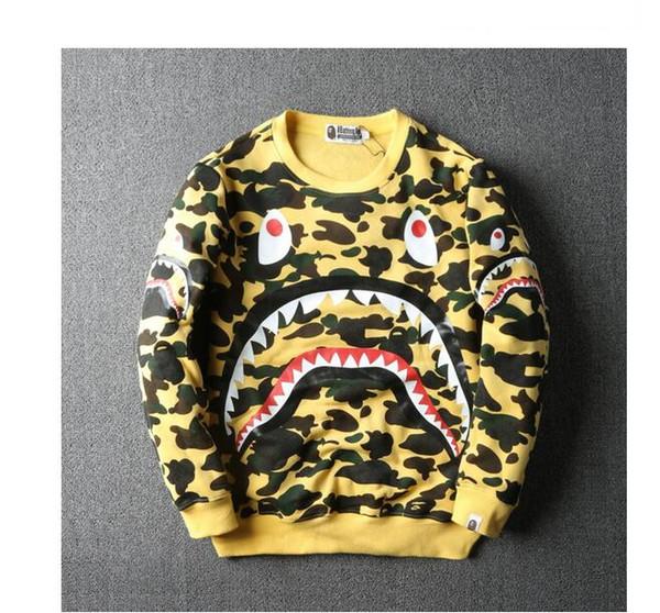 Herbst Winter Teenager Hip Hop Streetwear Schwarz Weiß Camouflage Shark Hoodie Männer Frauen Rundhals Pullover Mantel